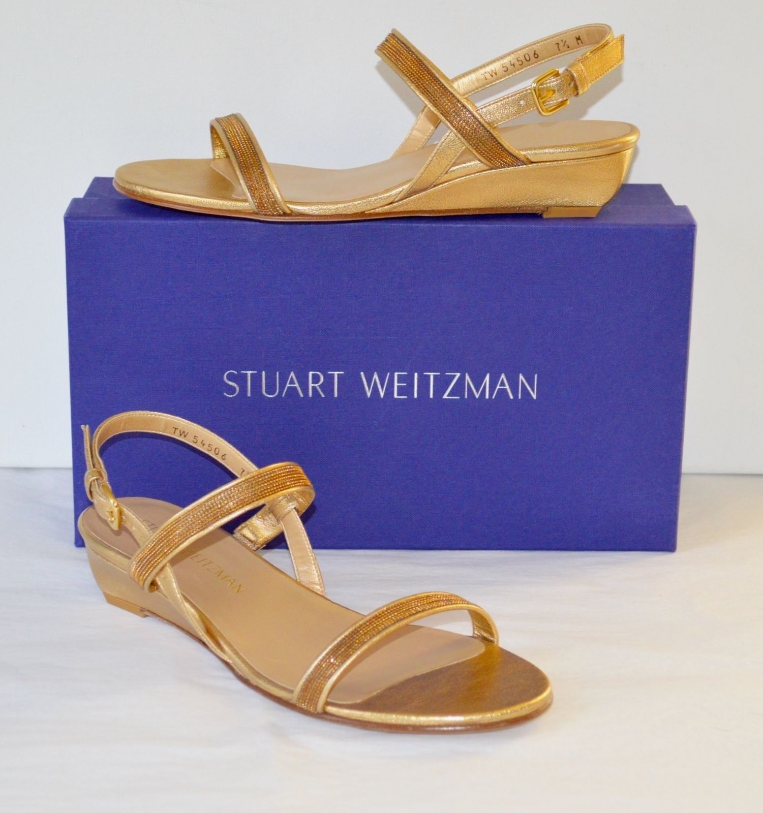 New $498 Nappa Stuart Weitzman InChains In Chains Chino Washed Nappa $498 Leather Wedge 8 3a4083