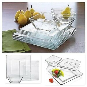 Image is loading Clear-Dinner-Set-Dinnerware-Kitchen-Square-Glass-Bowls-  sc 1 st  eBay & Clear Dinner Set Dinnerware Kitchen Square Glass Bowls Dishes Plates ...