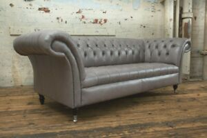 Details about HANDMADE 3 SEATER VINTAGE GREY LEATHER CHESTERFIELD SOFA,  SETTEE