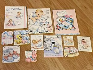 Lot 60+ Antique Vintage Lot Greeting Cards Ephemera Baby Shower Welcome Gift