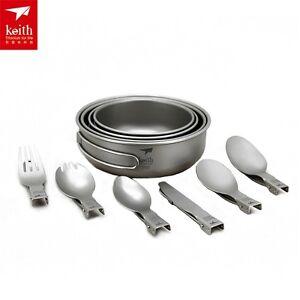 Titanium-Tableware-Folding-Bowl-Camping-Spork-Titanium-Fork-Picnic-Spoon-Ti5374