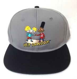 online store 251e7 ab2f0 Image is loading HEY-ARNOLD-SNAPBACK-HAT-Gray-Black-90s-Nickelodeon-
