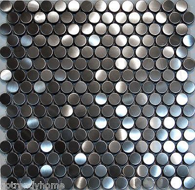 10SF-Penny Circle Stainless Steel Mosaic Tile Backsplash Kitchen Spa Sink Wall