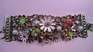 Big Chunky BETSEY Johnson Rhinestone Cuff Signed Bracelet Cute Collectible