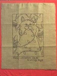 Whimsy Rugs Rug Hooking Pattern - Meowy Christmas - Scottish Linen - 13 x 18