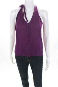 Etro Womens V Neck Knit Button Up Tank Top Purple Cotton Size IT 44 LL19LL