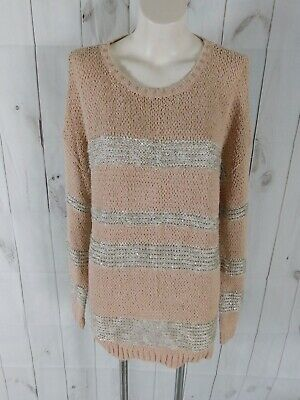 NWT CHICOS Womens Sz M 1 Paris Pink Embellished Sccop Neck Long Sleeve Knit Top