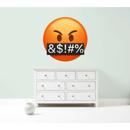 Emoji emoticons angry swearing expletives wall car decal sticker giant bedroom