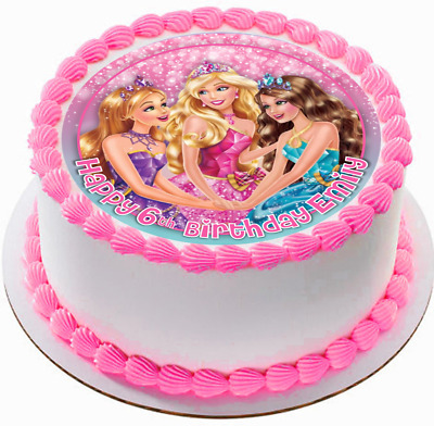 Groovy Barbie Princess Edible Wafer Personalized Birthday Cake Topper 7 5 Birthday Cards Printable Benkemecafe Filternl