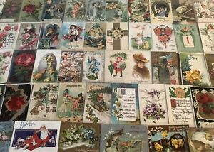 Great-Lot-of-100-Antique-amp-Vintage-Post-Cards-Christmas-Valentine-Easter-Etc-24