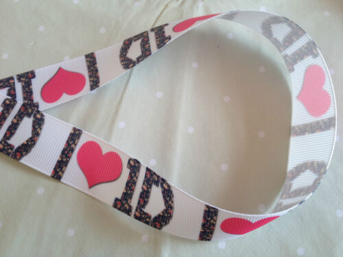 1m One Direction 1D White and Floral 7//8 Grosgrain Ribbon Cake Hair Bow Craft