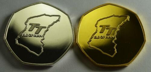 Motorsport Superbikes 2x ISLE OF MAN TT RACING Collectors Tokens Silver /& Gold