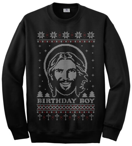 Threadrock Men/'s Birthday Boy Jesus Ugly Christmas Sweater Sweatshirt