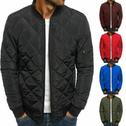 Men Plain Padded Quilted Puffer Bomber Jacket Outwear Zip Up Coat Casual Tops Ne