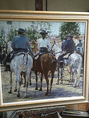 SUPERB ORIGINAL DENNIS SYRETT On Parade Seville Fair Spanish Horse OIL PAINTING