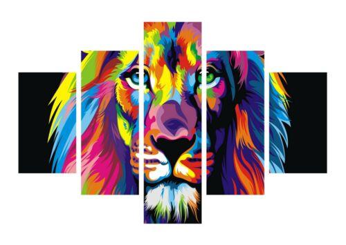 Abstract Lion Colourful Splash Paint Large Art 5 Split Panel Canvas Picture