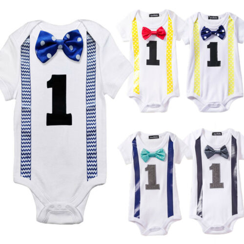 Baby Boys Girls My First 1st Birthday Striped Bow Bodysuit Party Romper Jumpsuit
