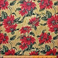 Marcus Brothers/ Karen Jarar Christmas Poinsettias Fabric 33 L X 44 W (gold)