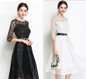 Womens-Sexy-Short-Sleeve-Lace-Floral-Skater-Evening-Party-Cocktail-Midi-Dress
