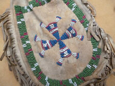 LARGE OLD PLAINS INDIAN BEADED DEERSKIN MEDICINE BAG - NATIVE AMERICAN