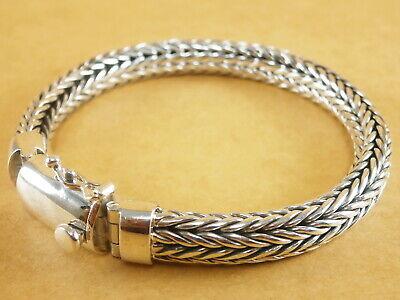 "New 925 Sterling Silver Foxtail Franco Wheat Bracelet Bali Tulang Naga 7.75/"" 40g"