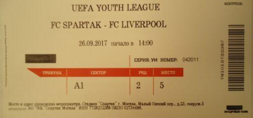 Liverpool FC mint TICKET UEFA YL 2017//18 Spartak Moskau