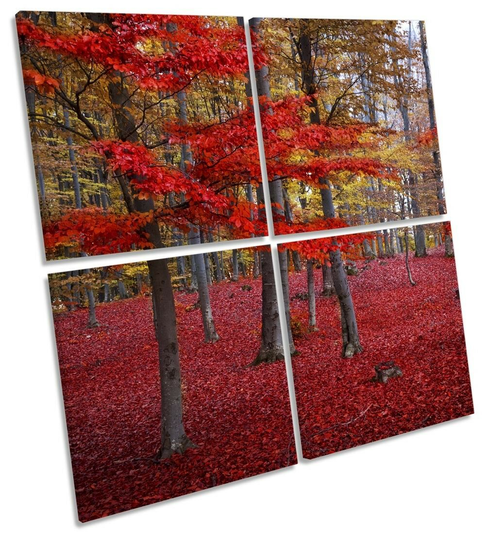 rot Landscape Forest Bild MULTI CANVAS Wand Kunst Square