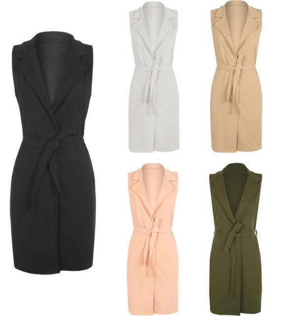Womens Ladies Sleeveless Belted Waistcoat Boyfriend Cardigan Blazer Jacket Top