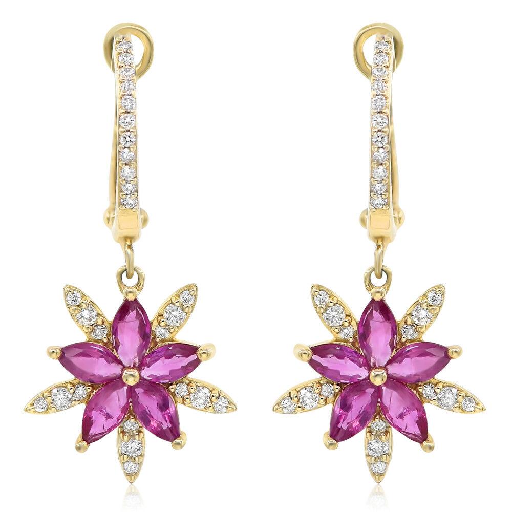 14K YELLOW gold DIAMOND MARQUISE RUBY FLOWER STARBURST SNOWFLAKE DANGLE EARRINGS