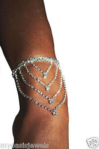 2x-Rhinestone-Anklet-Armlet-Austrian-Crystal-Exotic-Body-Jewelry-Belly-Dancer