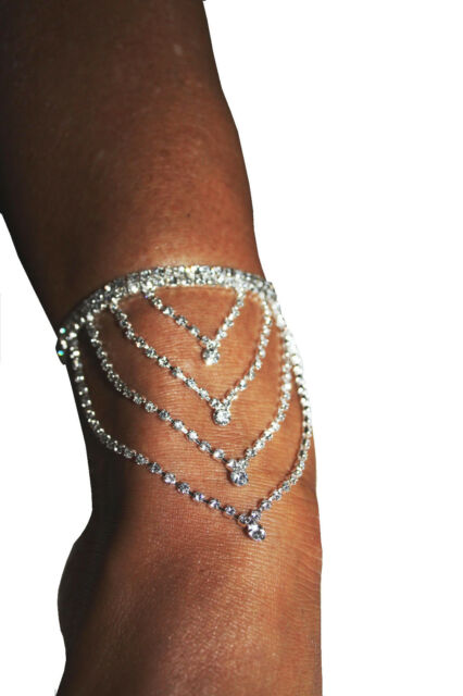 2x Rhinestone Anklet Armlet Austrian Crystal Exotic Body Jewelry Belly Dancer