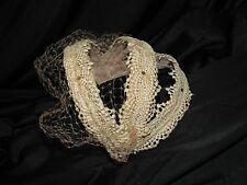 Vtg Womens Hat PINK Lace Bridal Veil Headband Wedding Art Deco 1920s 30s 40s