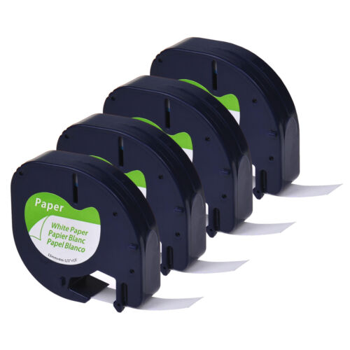 4x 91200 Weiß Papier Kompatibel zu DYMO LT 91330 4m 12mm LetraTag XR LT100H 100T