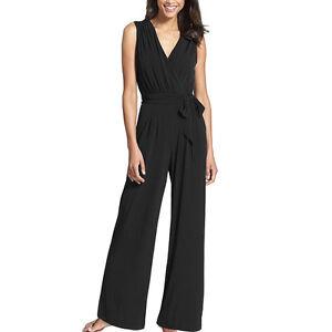 Women V Neck High Waist Wide Leg Palazzo Pants Suit Dress All in one ... 9cb0c1d3d