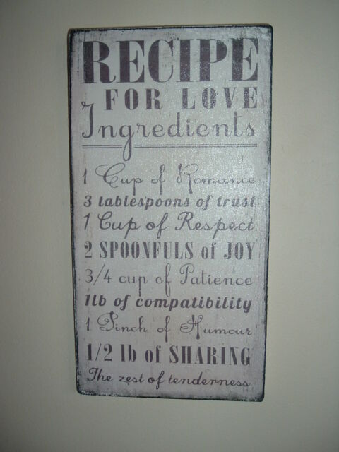 shabby vintage chic distressed recipe for love ingredients plaque sign kitchen
