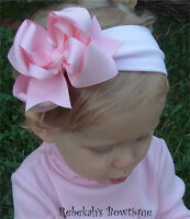 Pink Exclusive Hair bow Headband Bowband OR Clip unique Easter Spring Infant ++
