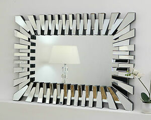 "Silver Wall Mirrors zip silver modern rectangle facet wall mirror 40"" x 28&#034"