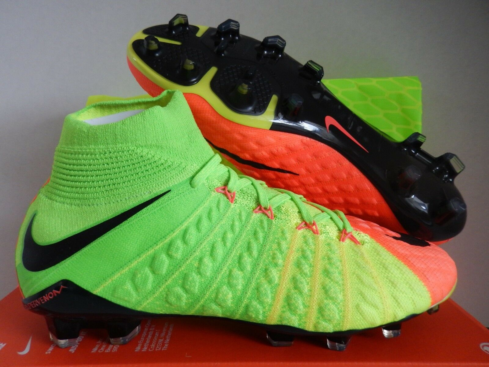 NIKE HYPERVENOM PHANTOM III DF FG ELECTRIC GREEN-BLACK SZ 10.5 [860643-308]
