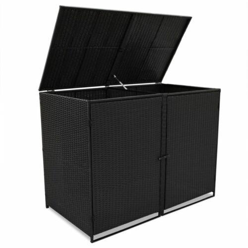 vidaXL Mülltonnenbox 2er Poly Rattan Gerätebox Müllbox Mülltonnenverkleidung