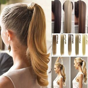 100-Natural-Clip-In-Human-Remy-Hair-Extensions-Pony-Tail-Wrap-On-Ponytail-kclak