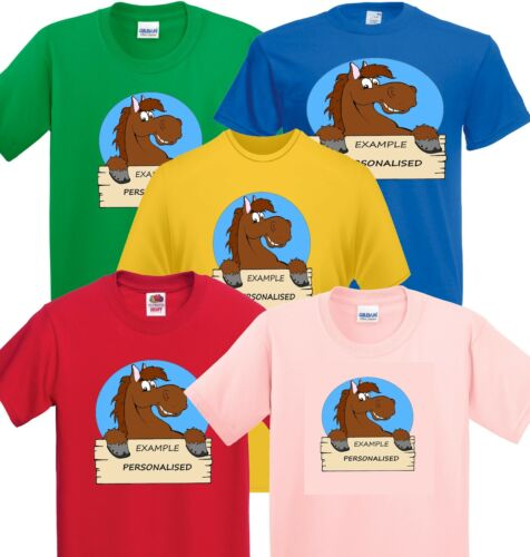 Personalised horse t shirt equestrian range Brown horse with name plack.
