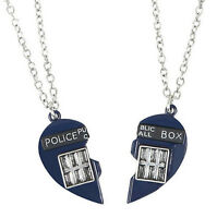 Doctor Who Tardis Heart Best Friends 2 Piece Necklace Set 18' W/3 Extender