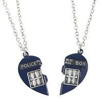Doctor Who Tardis Heart Best Friends 2 Piece Necklace Set 18' W/3 Extender