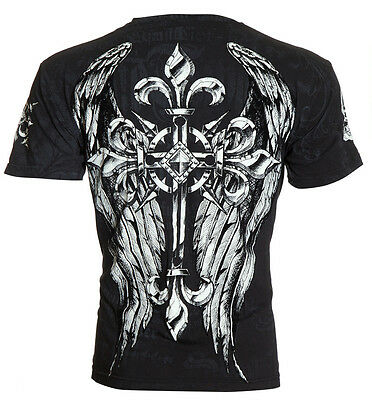 Archaic AFFLICTION Mens T-Shirt HERCULES Cross Wings Tattoo Biker UFC M-4XL $40