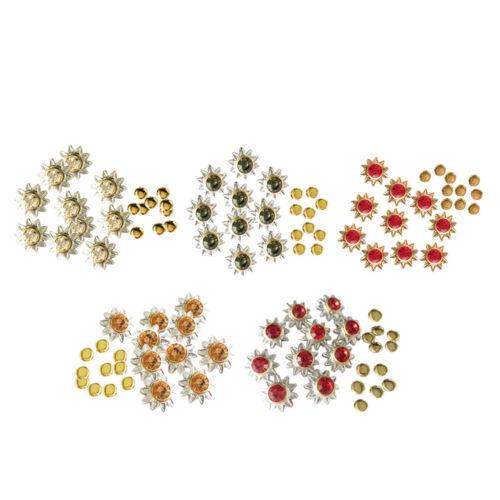 50 Sets Flower Crystal Rhinestone Rivet Rapid Nailhead Studs Leather Crafts