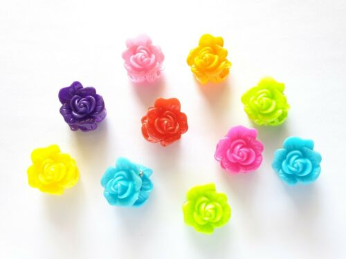 20 pcs Mix Colors cute Flower Hair Snap Claw Clips For Hair Crafts Size 20 mm