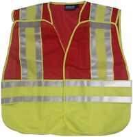 Erb Red Safety Vests 3 Pockets With Lime/silver Reflective Stripes