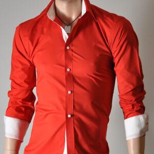 Da-Uomo-Rosso-Manica-Lunga-Camicie-casual-Formale-Slim-Fit-Camicia-100-cotone-S-M-L-XL