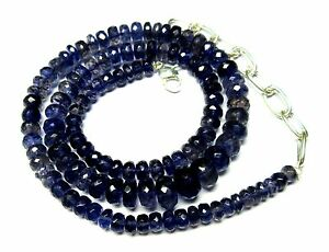 """Natural Iolite Gemstone Roundel Faceted Beads 19.5"""" NECKLACE 5-9MM 134-CT S47"""