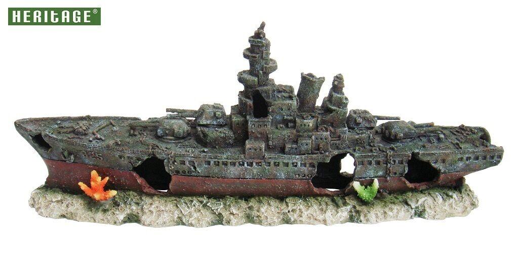 Heritage WS008BL Acquario Vasca dei Pesci GRANDE NAVE DA GUERRA BARCA NAVE RELITTO Ornamento 73CM